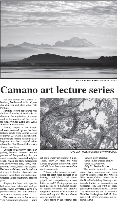 Camano Art Lecture Series article